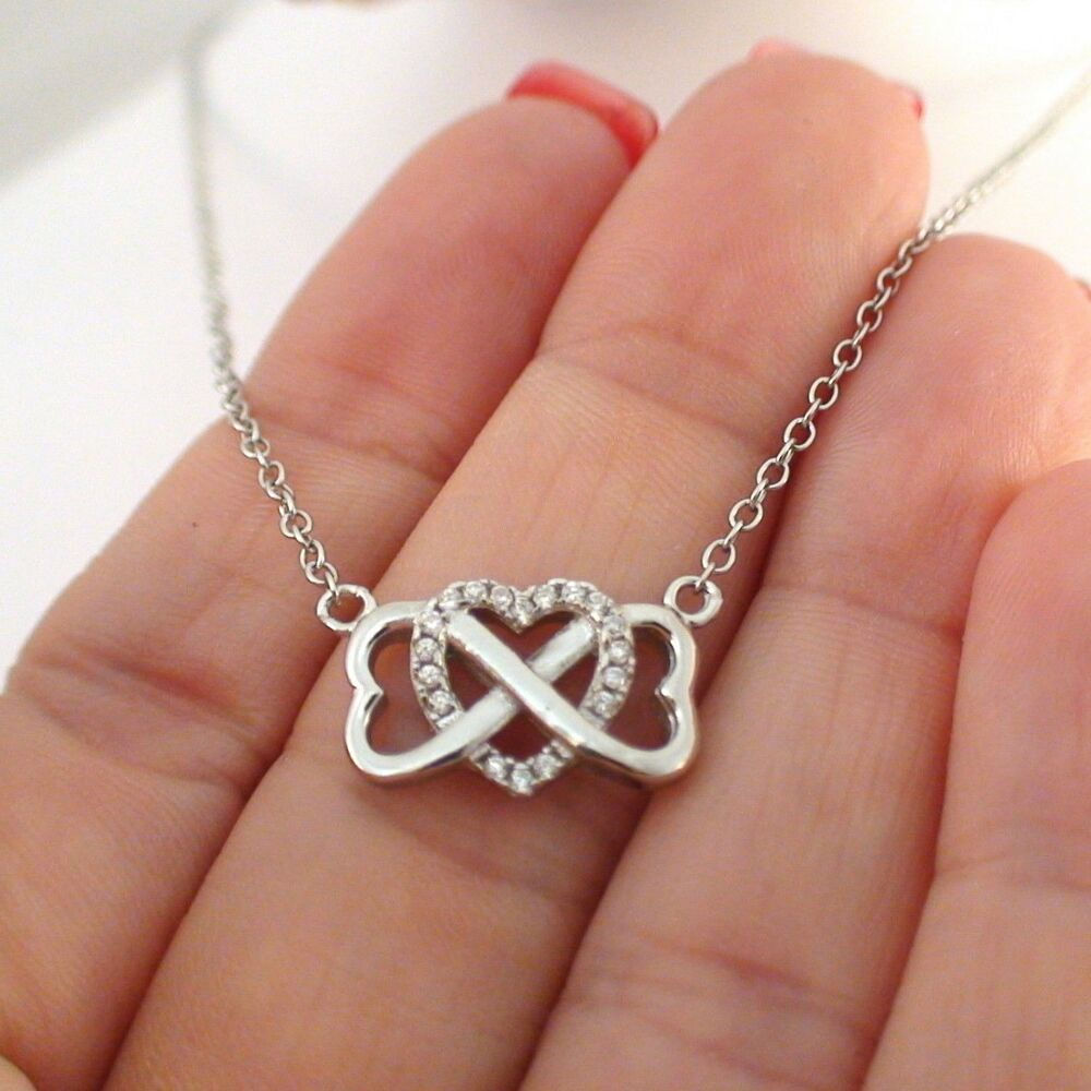 infinity heart necklace 925 sterling silver cz hearts. Black Bedroom Furniture Sets. Home Design Ideas