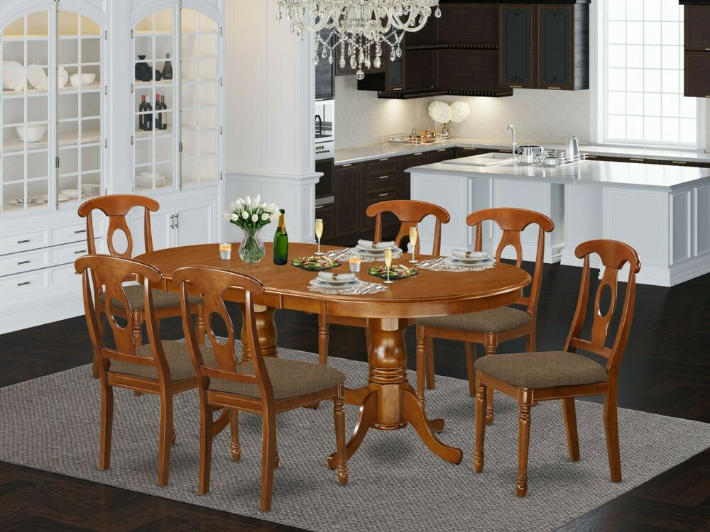 7PC OVAL DINETTE KITCHEN DINING TABLE & 6 NAPOLEON PADDED