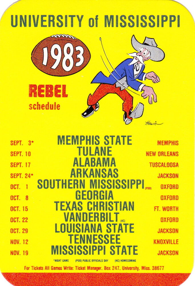 Mississippi S First Interracial Couple August 3 1970: 1983 UNIVERSITY OF MISSISSIPPI OLE MISS REBELS FOOTBALL