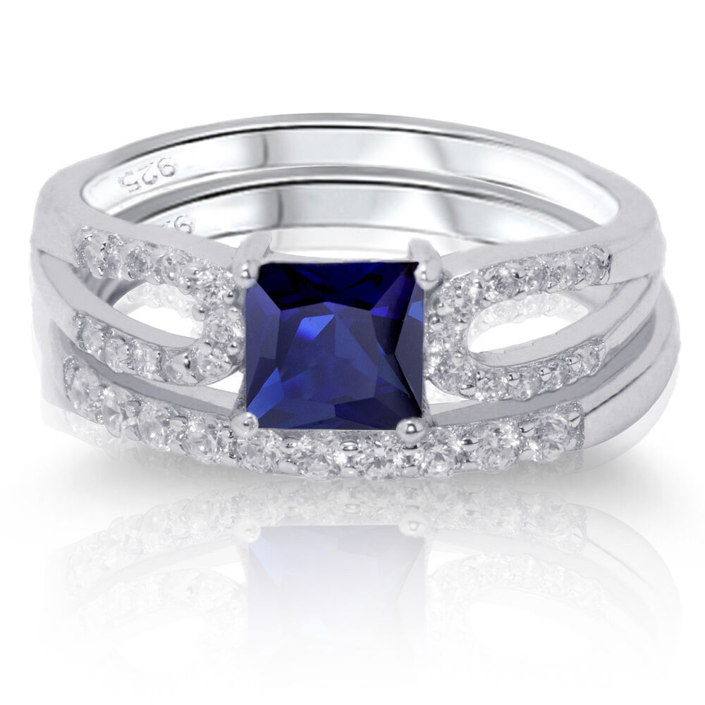 Princess cut blue sapphire engagement wedding sterling for Blue sapphire wedding ring set