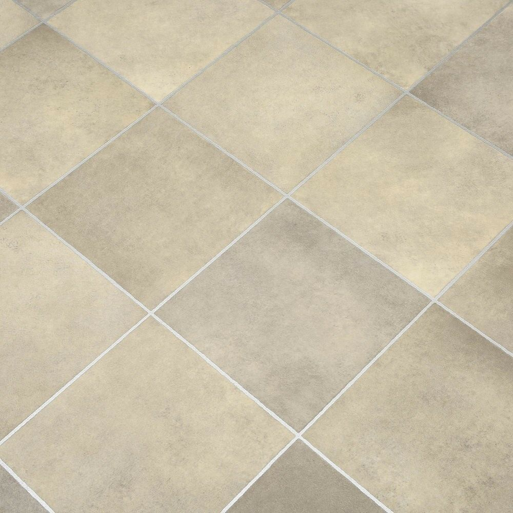 Beige Tiles Non Slip Vinyl Flooring Lino Kitchen