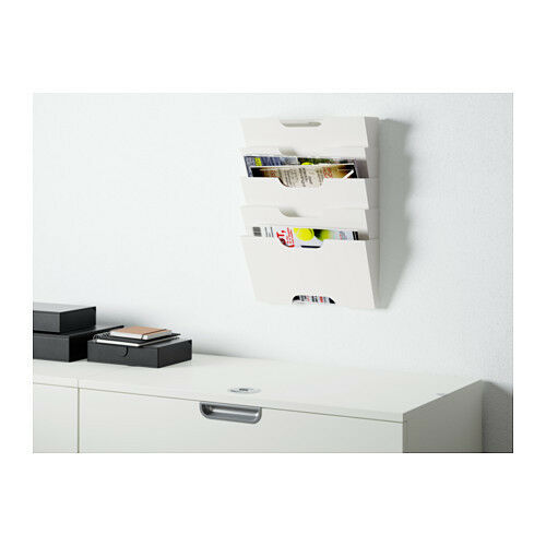 ikea wall mounted newspaper rack book magazine file paper holder white steel ebay. Black Bedroom Furniture Sets. Home Design Ideas