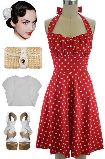 Plus Size 50s Style Red With White Polka Dots Pinup Betty
