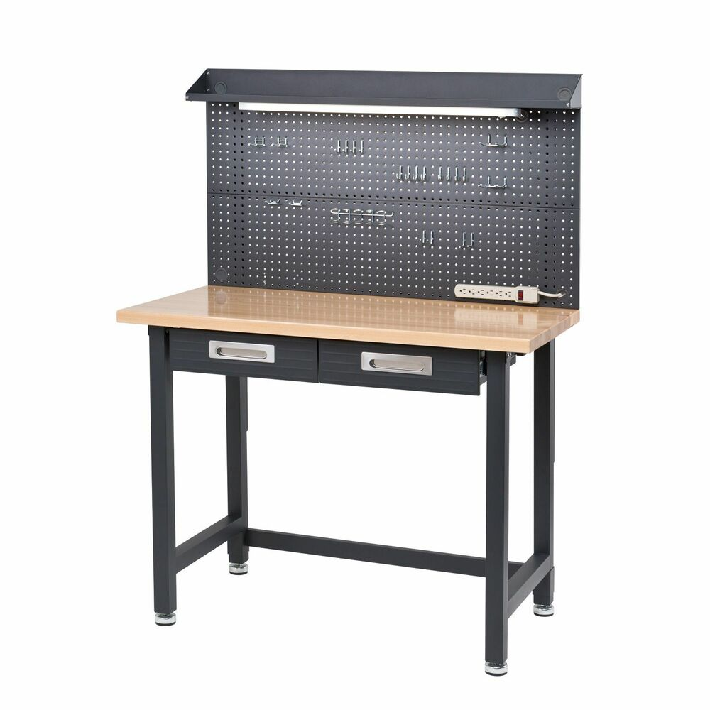 Dark Gray Garage Lighted Workbench Hardwood Top Tool Storage Drawers Shelving Ebay