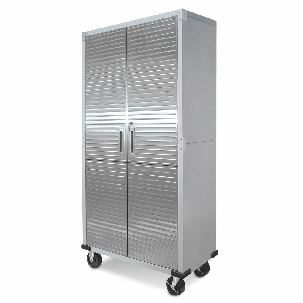 Metal rolling garage tool file storage cabinet shelving stainless steel doors 17641162349 ebay for Tall stainless steel bathroom cabinet
