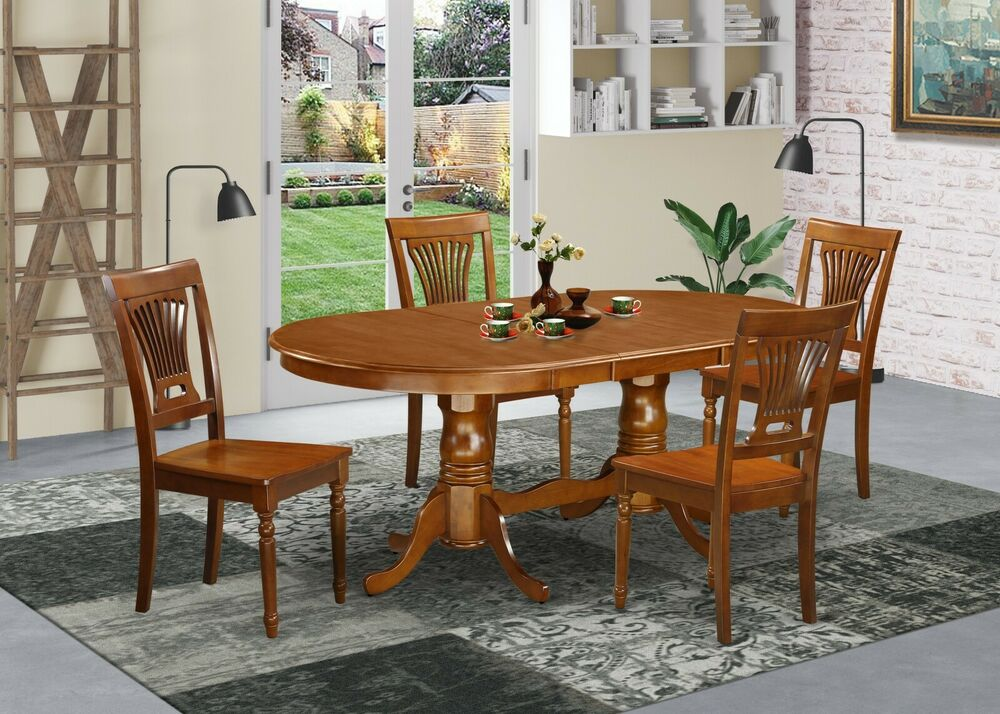 5PC SET, OVAL TABLE, DINING TABLE W/ 4 PLAIN WOOD SEAT