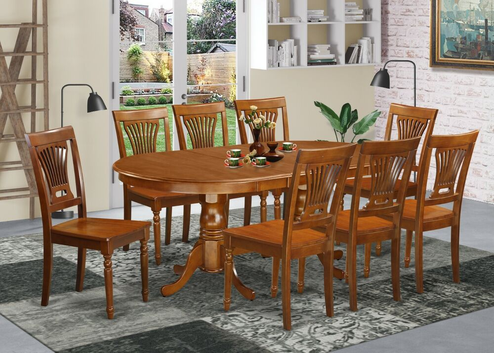 9-PC SET, OVAL TABLE, DINING TABLE With 8 PLAIN WOOD SEAT