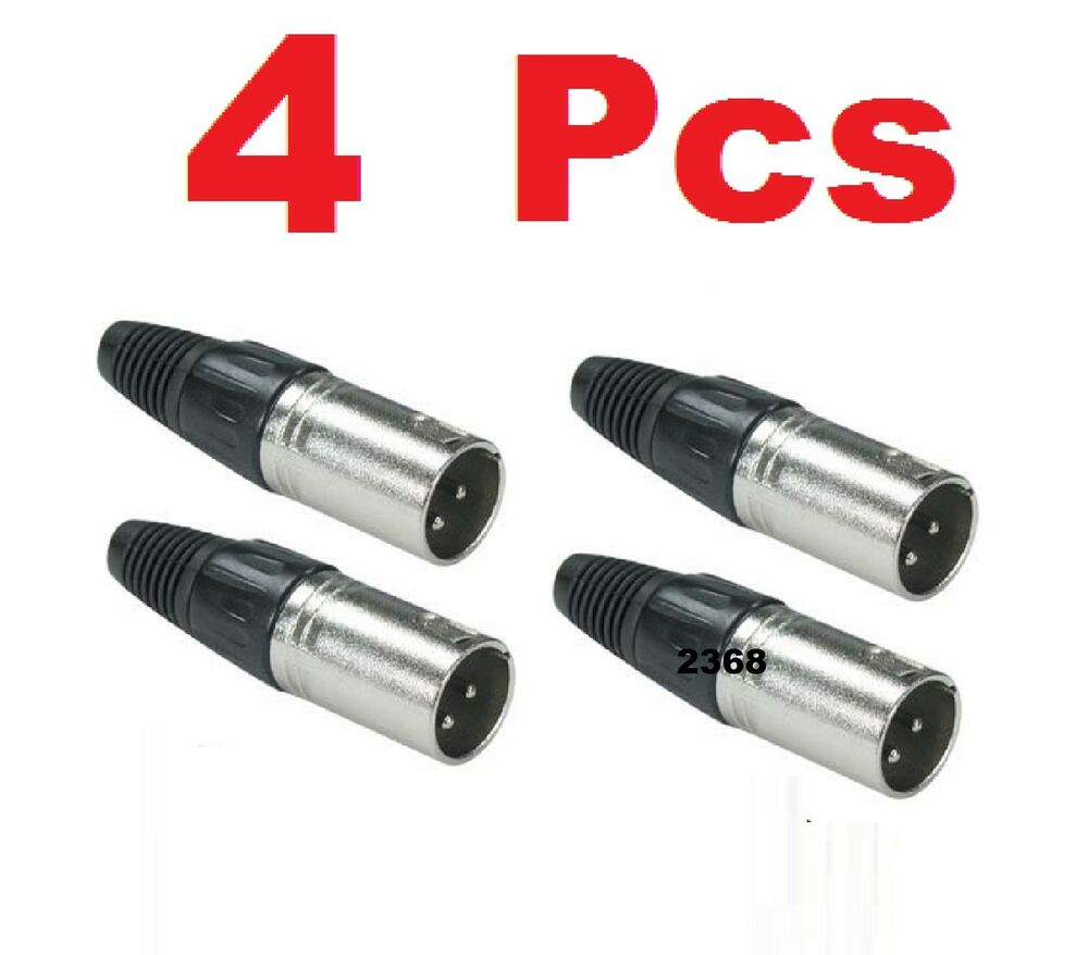 4 pcs lot xlr male 3 pin audio cable connector solder. Black Bedroom Furniture Sets. Home Design Ideas