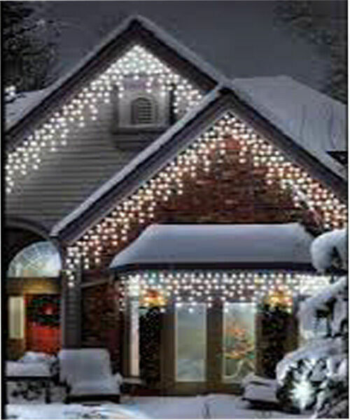 960led white icicle chaser light outdoor indoor christmas. Black Bedroom Furniture Sets. Home Design Ideas