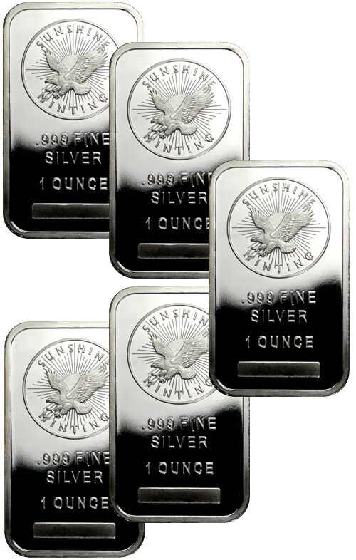 Lot Of 5 Sunshine Minting Inc 1 Troy Oz 999 Fine
