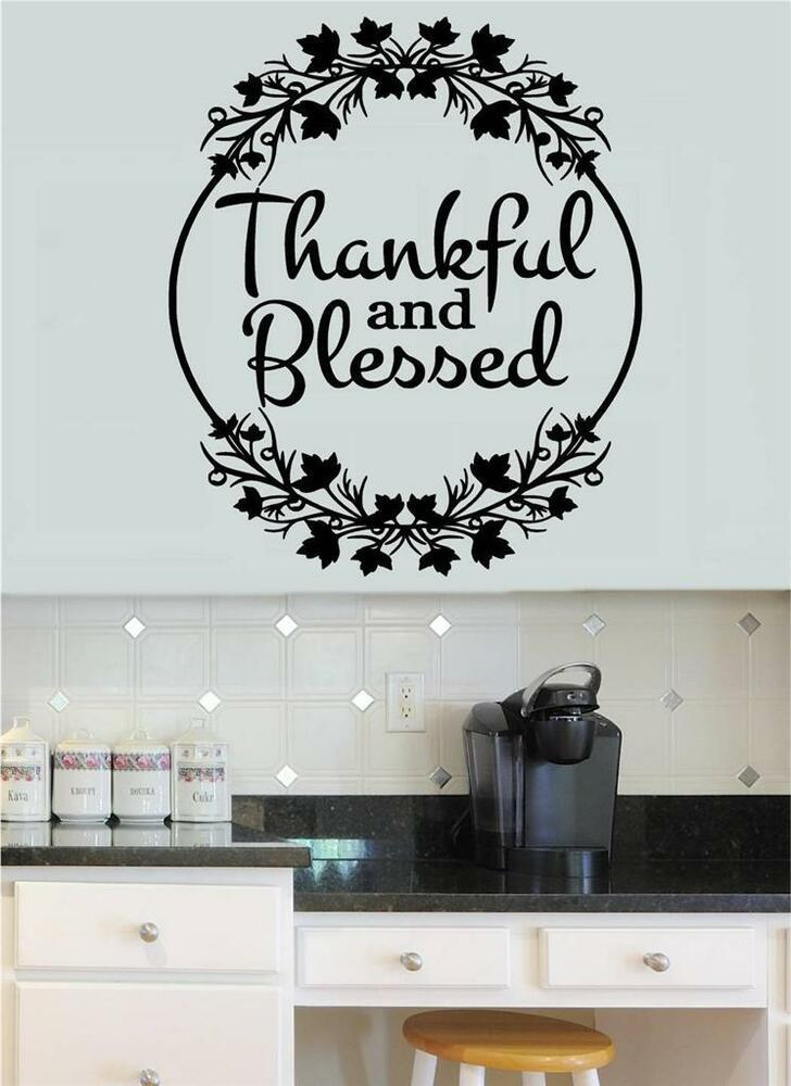 Thankful & Blessed Vinyl Decal Wall Stickers Words Letters