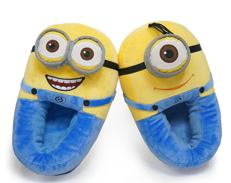 The Minions Movie kids slippers Officially licensed Universal Studios Despicable Me Minions kids footwear Soft plush uppers for expected warmth; textured sole for safety Peace loving Hippie or Swashbuckling Pirate with googly eye applique Features your favorite Minion from the hit film Minions; Imported Stock photos used.