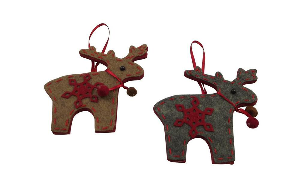 Gisela Graham Set Of 2 Reindeer Felt Decorations