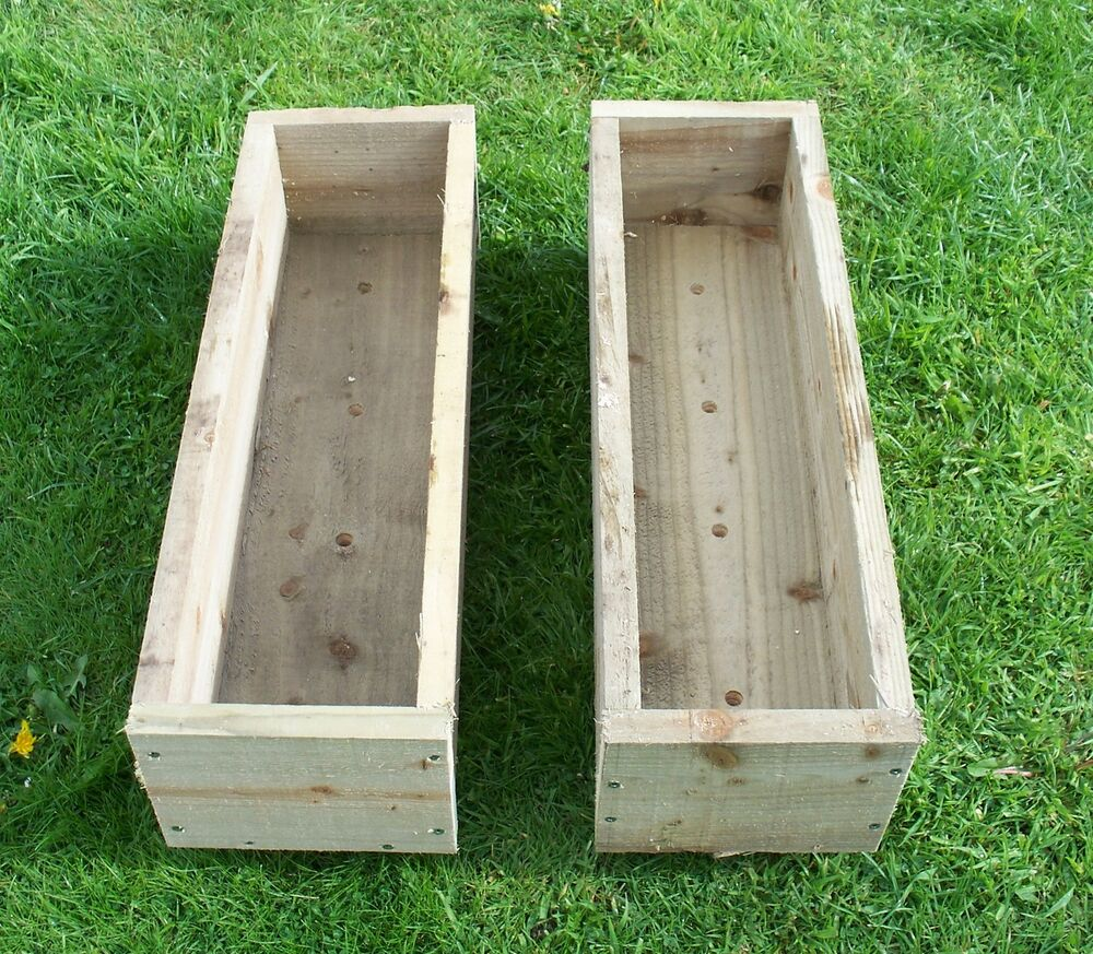 2 X Tanalised Wooden Garden Planter, 600, 900 Or 1200mm