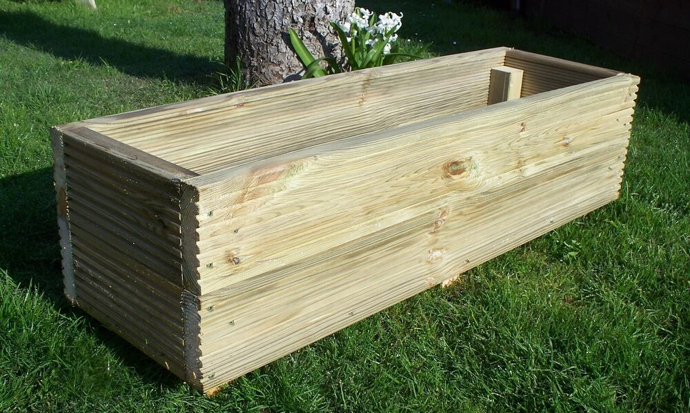 Large decking wooden garden planter 800 1000 or 1200mm for Flat pack garden decking