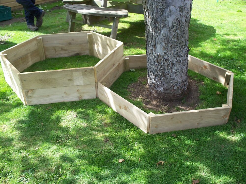 1 x 30 cm high hexagonal wood raised bed tanalised wooden for Wooden flower bed borders