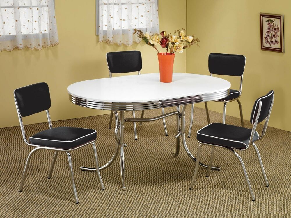 1950s style chrome retro dining table set black chairs for Kitchen dining room furniture