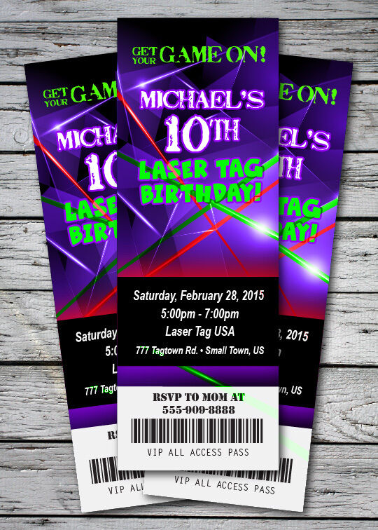 Laser Tag Glow Neon Birthday Party Invitation Ticket Stub