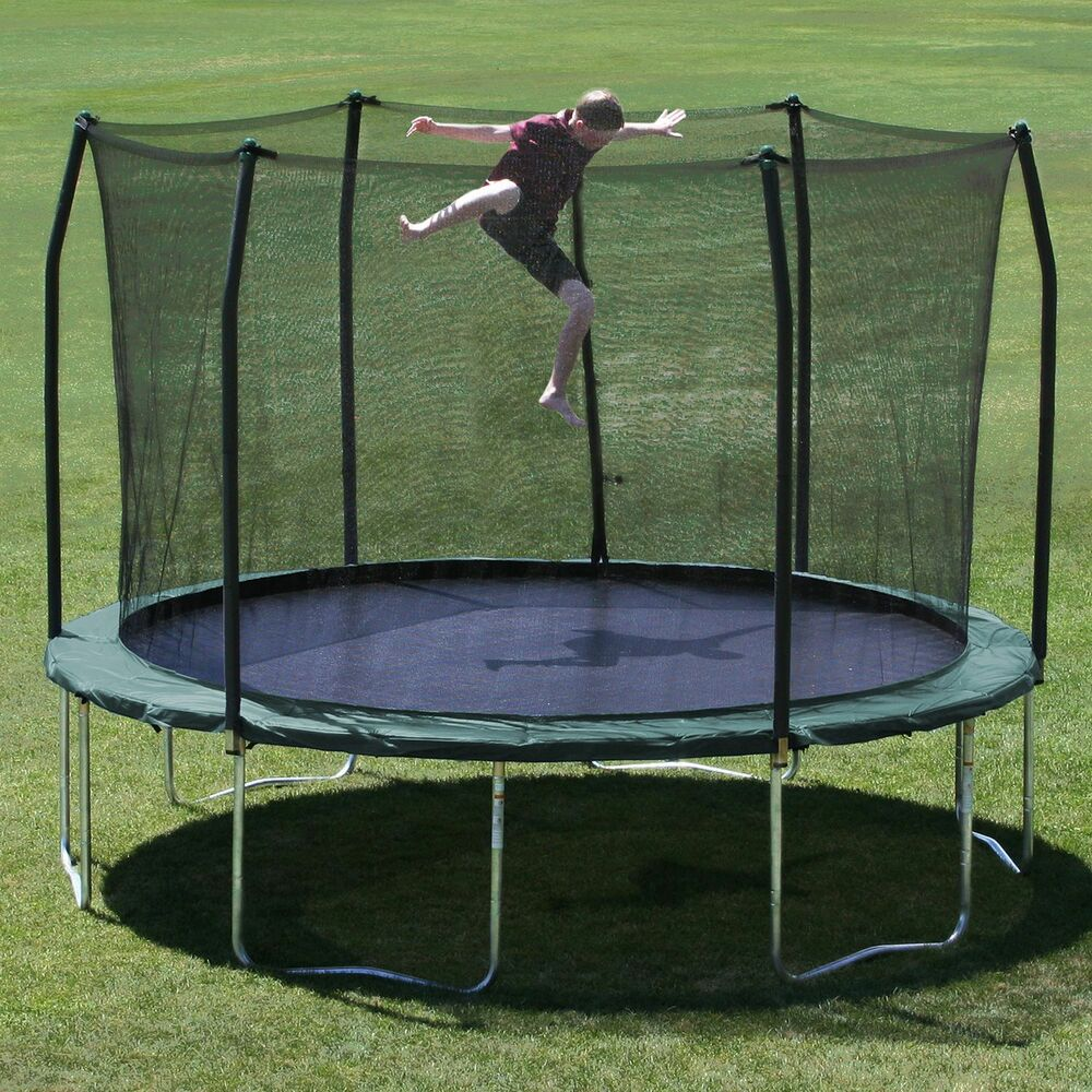 Skywalker 14 Foot Square Trampoline And Enclosure With: Skywalker Trampoline 12 Foot Round Trampoline And