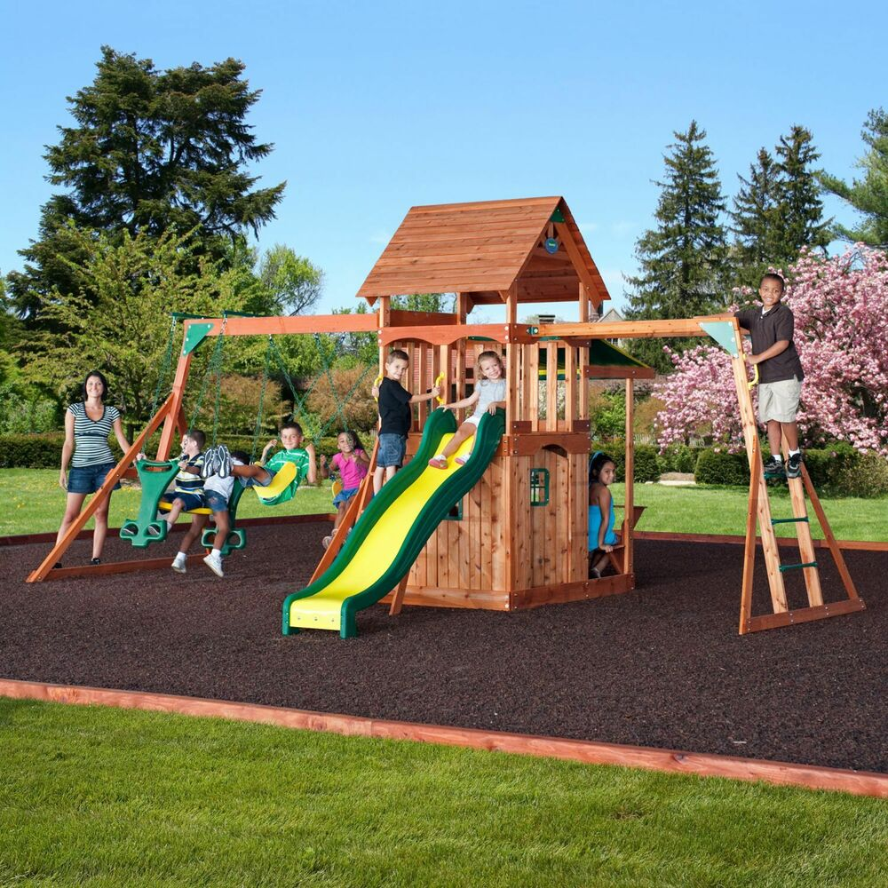 Saratoga cedar swing play set kids outdoor slide wood fort new new new ebay - How to build an outdoor wooden playground ...