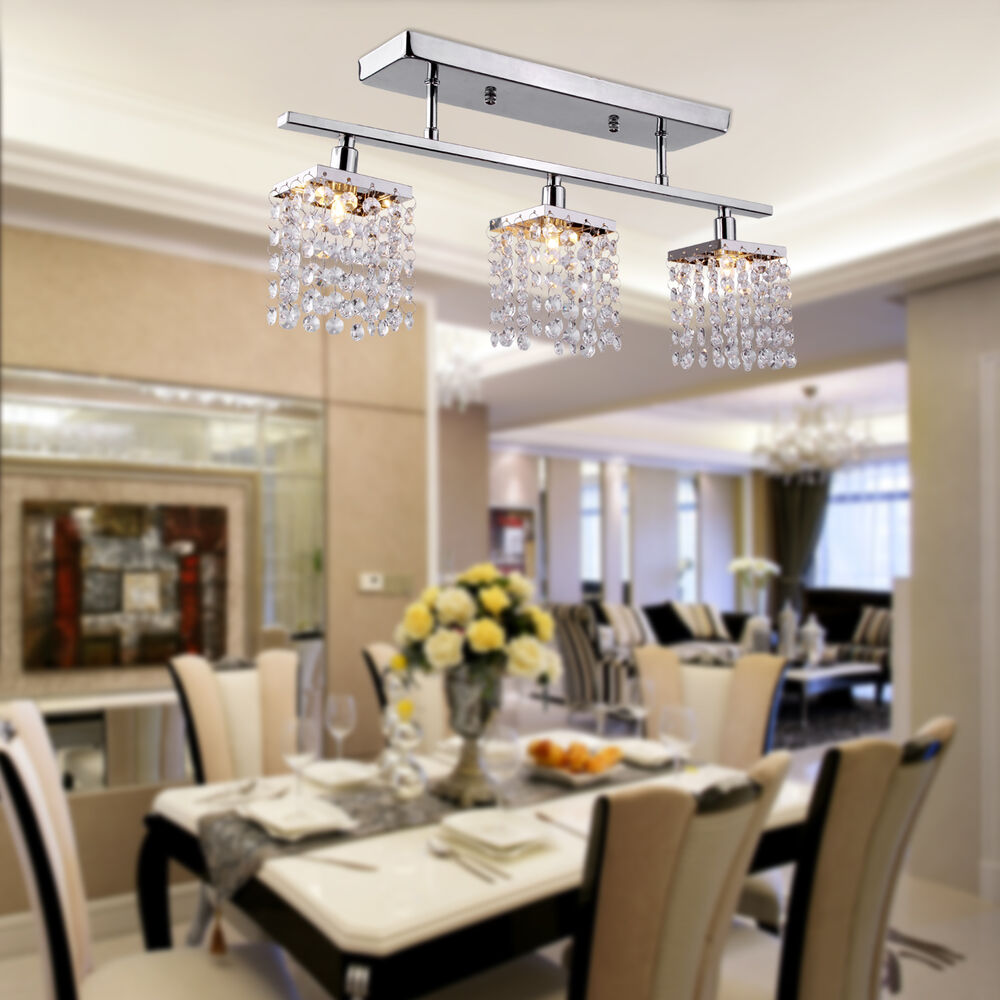 Modern Crystal P1 Chandelier 3 Lights Ceiling Fixtures Lamp Pendant Dining Ro