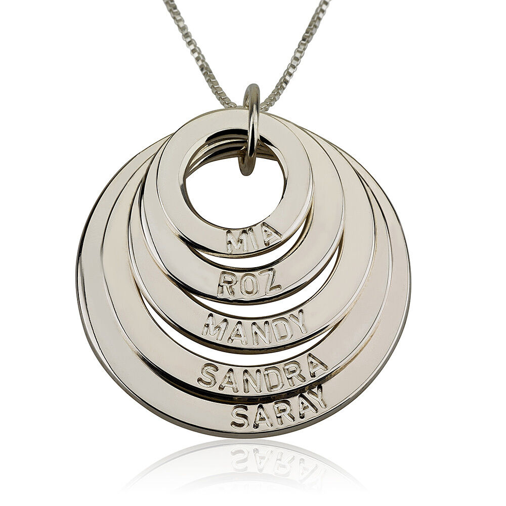 personalized mother necklace 5 discs engraved mother. Black Bedroom Furniture Sets. Home Design Ideas