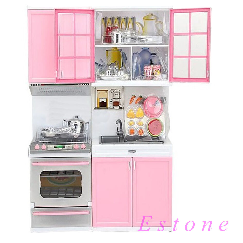 2014 new kids kitchen pretend play pink cook cooking set cabinet stove toy ebay. Black Bedroom Furniture Sets. Home Design Ideas