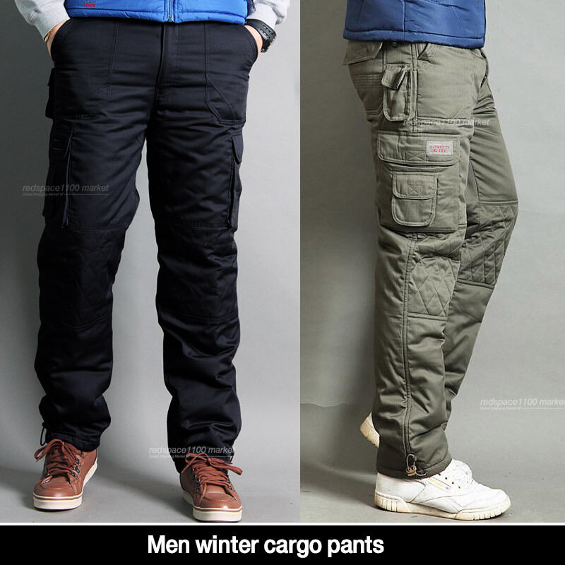 Men Winter cargo pants lined thermal work trousers fatigue ...  Men Winter carg...