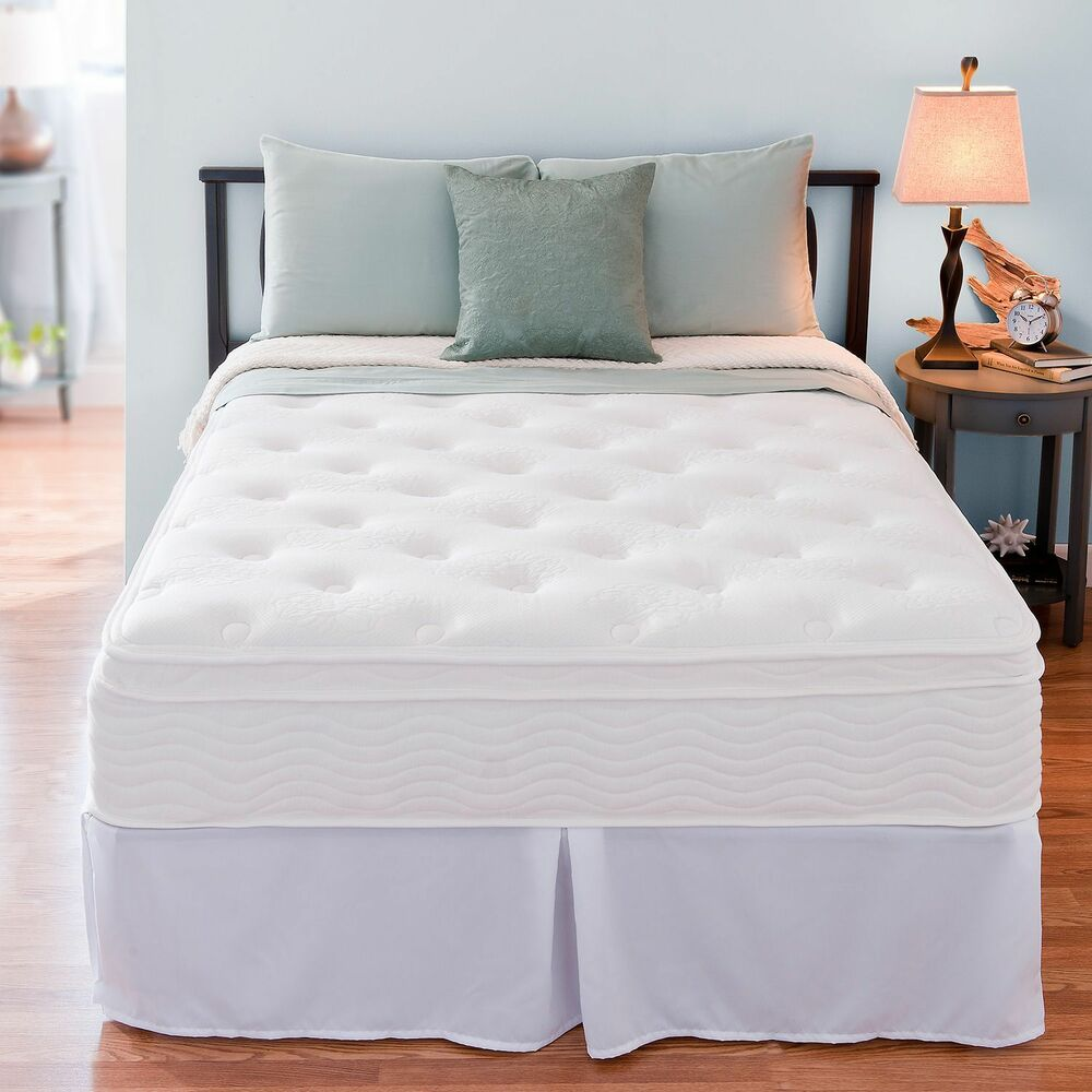12 inch night therapy euro box top spring mattress and bed frame set full new ebay. Black Bedroom Furniture Sets. Home Design Ideas