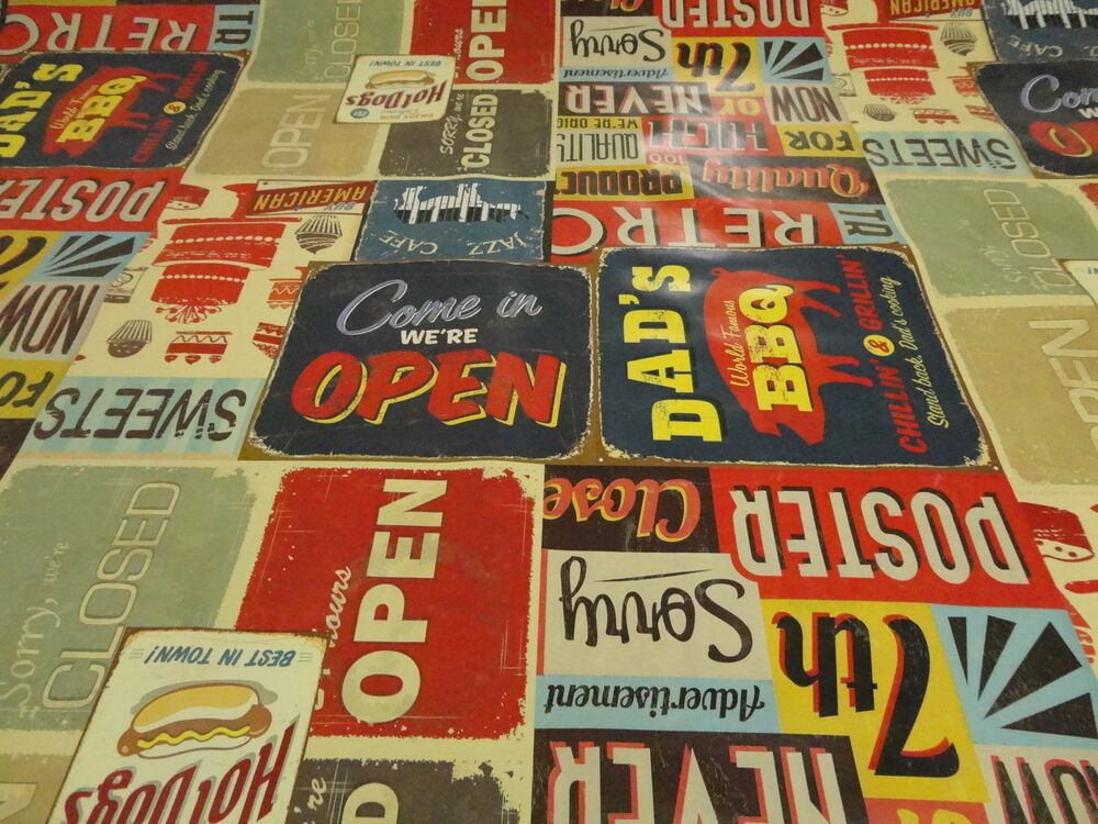 Pvc American Diner Retro Cool Oilcloth Vinyl Tablecloth