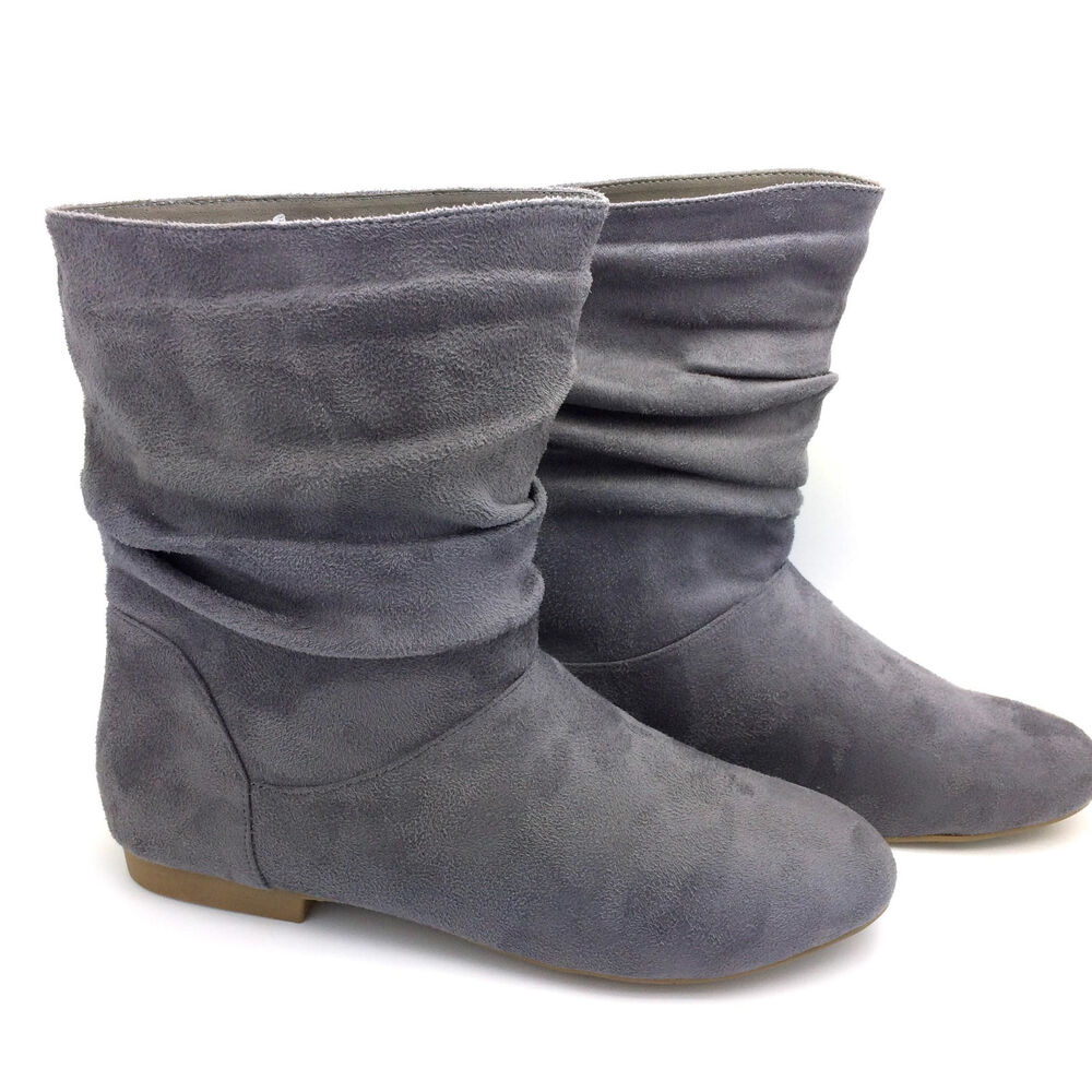 s grey faux suede fashion pixie ankle boots