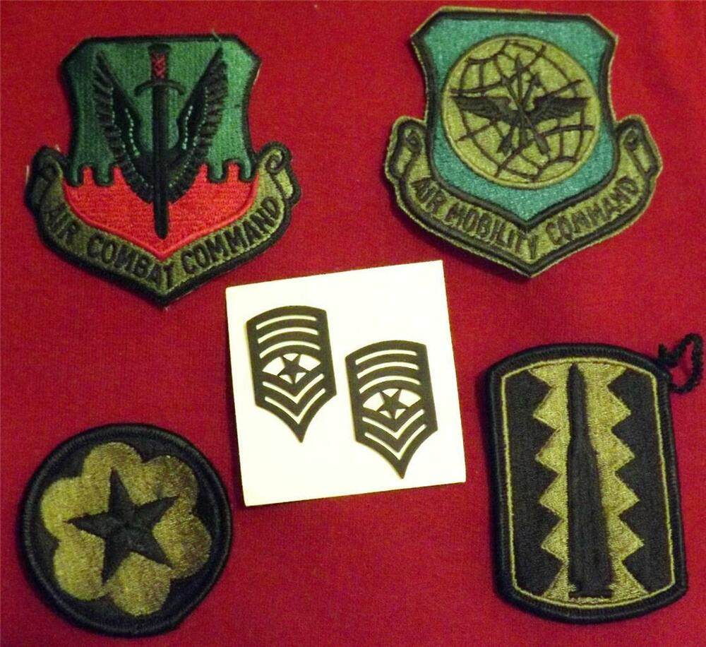 USMC Pair Sergeant Major Metal Collar Rank and 4 New Military Patches ...