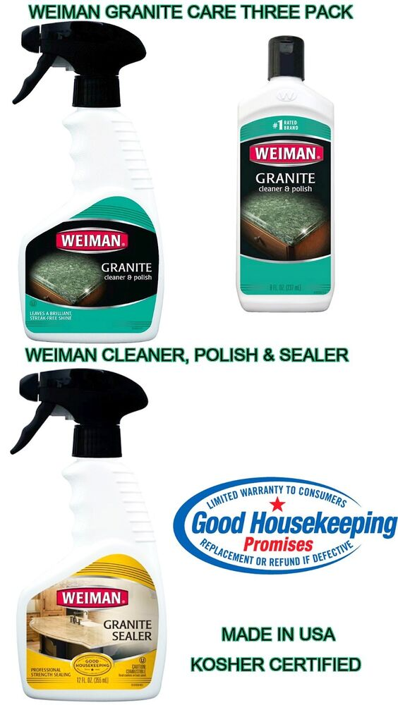 Marble Cleaner And Sealer : Weiman granite stone care kit cleaner polish sealer