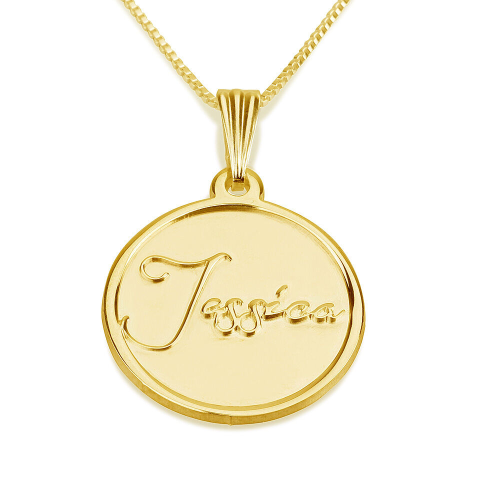 24k Gold Plated Stamp Engraved Personalized Necklace ...