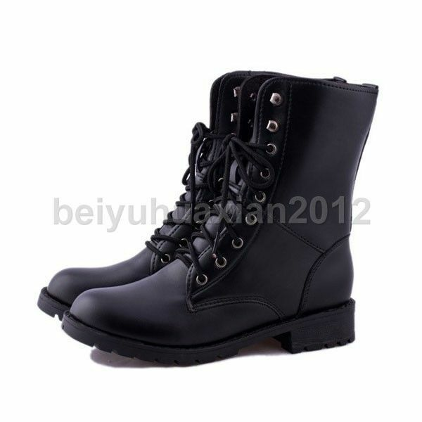 Luxury Womens Combat Style Army Worker Military Ankle Boots Flat Punk Goth Shoes Size | EBay