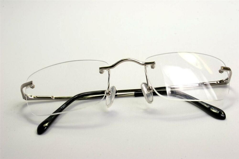 Rimless Clear Glasses : Rectangular slim rimless smart looking eye-glasses RX ...