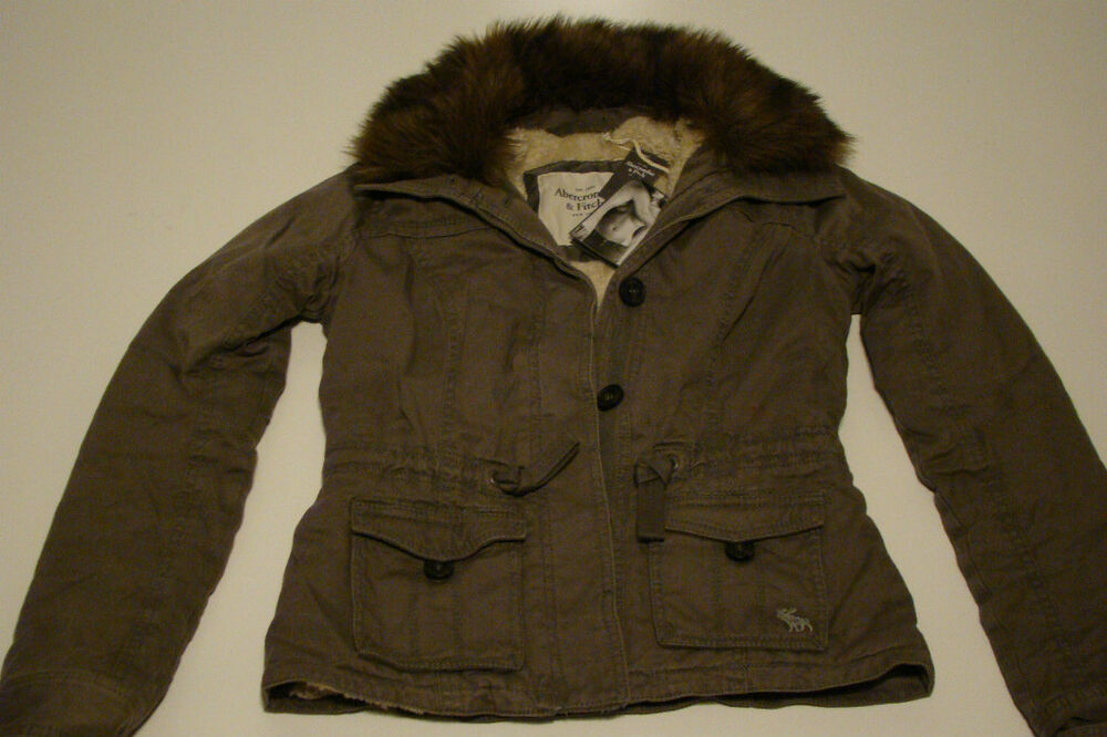NEW ABERCROMBIE & FITCH ARMY GRAY FAUX FUR LINED JACKET