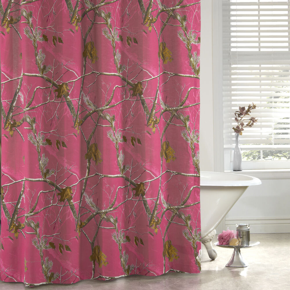 Girls Realtree Ap Fuchsia Hot Pink Camo Fabric Shower Curtain 72 X 72 Ebay