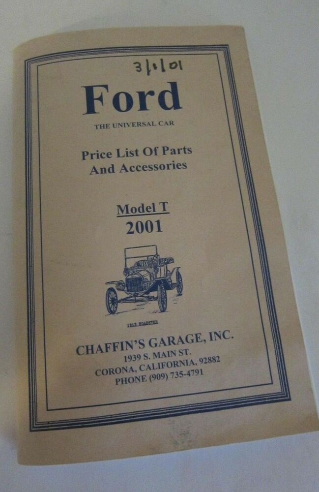 Ford Model A Parts List : Ford model t roadster price list of parts book