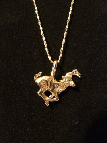 * Antlered ~ Deer Running 14 kt Gold  +++ FREE 18 kt Chain * Made in the USA *