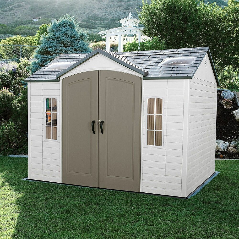 Lifetime 10 8 outdoor storage shed garden backyard for Outdoor tool shed