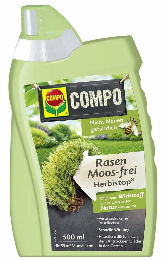 compo bio rasen moos frei herbistop 500 ml moosvernichter moosentferner garten ebay. Black Bedroom Furniture Sets. Home Design Ideas