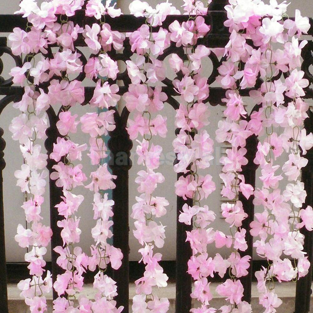 2pcs 74 artificial silk flower garland vine plant wedding for Artificial flowers for wedding decoration