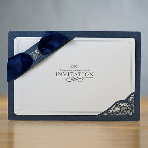 Personalized navy blue layered ribbon wedding for Ebay navy wedding invitations