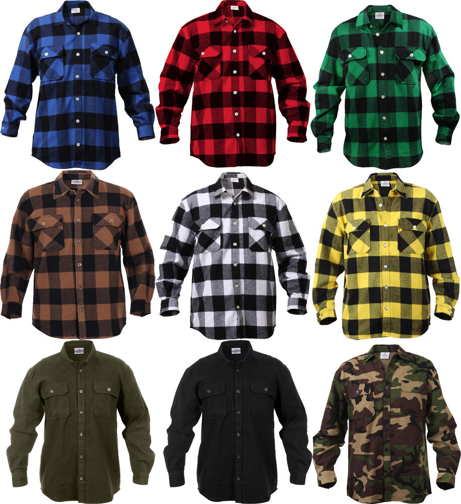Extra heavyweight brawny buffalo plaid flannel long sleeve for Flannel checked long sleeve shirt