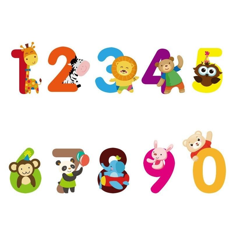 1 Set Home Decor Pvc Cute Numbers Animals Wall Sticker