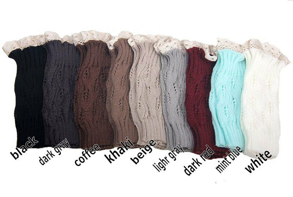 s fashion crochet knitted lace trim boot cuffs