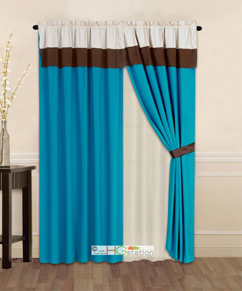 4 Pc Striped Solid Modern Curtain Set Turquoise Brown