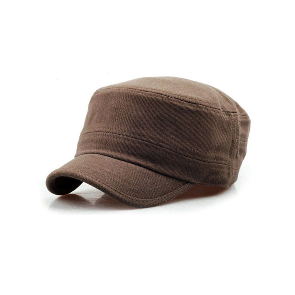 Details about Unisex Mens Womens Short Brim Casual Cadet Military Cap  Trucker Hats Brown b6837bf6bf7