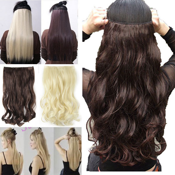 long 200g 100 natural hair extensions clip in on hair extension full head ss72 ebay. Black Bedroom Furniture Sets. Home Design Ideas